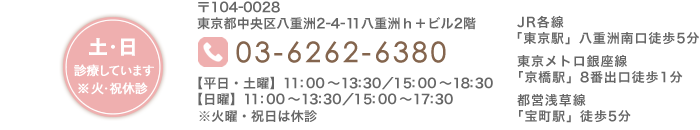 東京都中央区八重洲2-4-11 八重洲h+ビル2階 03-6262-6380